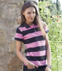 PL11: Ladies Striped Polo Shirt