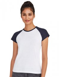 LBB1: Ladies Contrast Baseball Tee Shirt